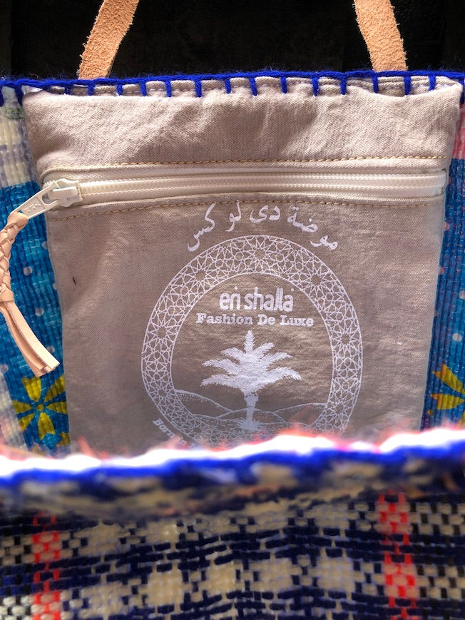 EN SHALLA HAND-EMBROIDERED, RECYCLED TOTE - BLUE