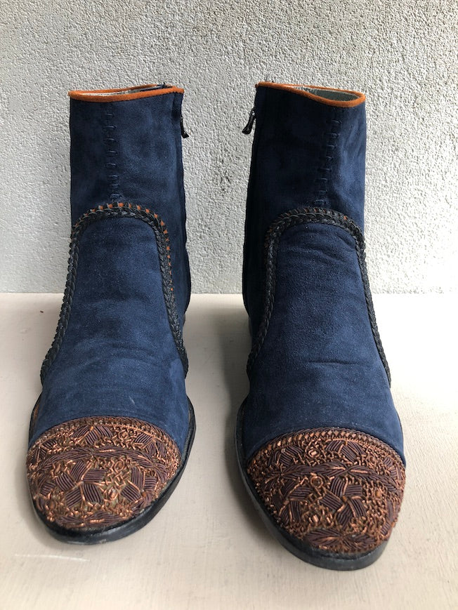 MEHER KAKALIA LEATHER BEADED LIGETTI BOOT - NAVY
