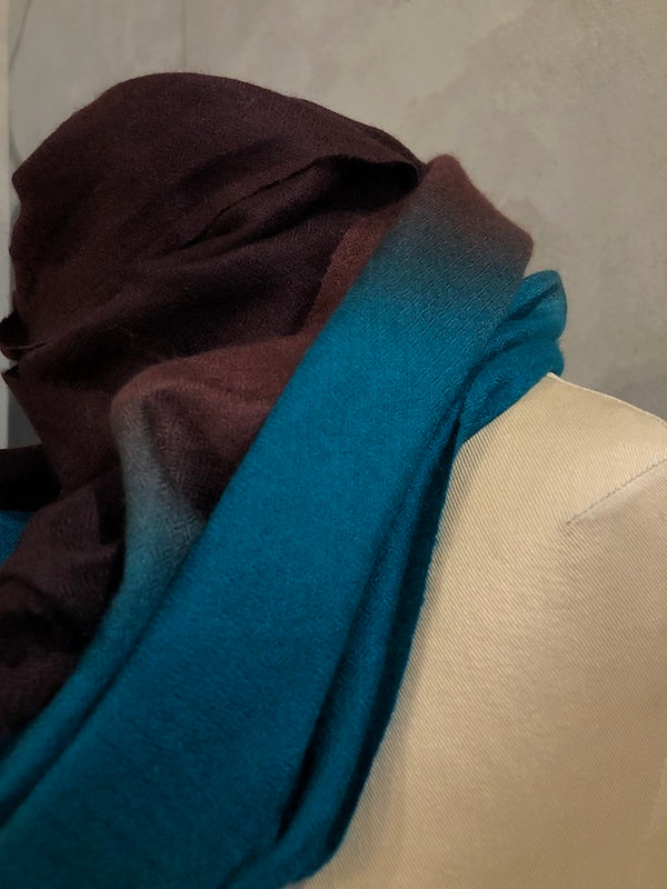 DIP DYE PASHMINA STOLE - CHOCOLATE_DARK TEAL