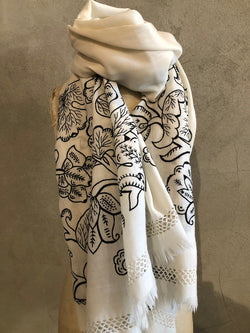 HAND EMBROIDERED MERINO WOOL SHAWL - IVORY/BLACK
