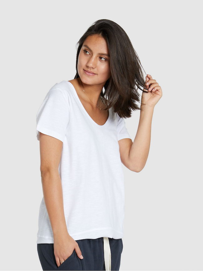 CLOTH & CO SLUB SHORT SLEEVE SCOOP NECK TEE_WHITE