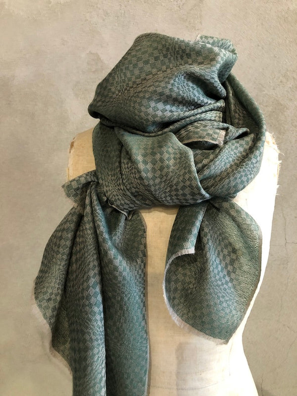 WOVEN PASHMINA STOLE - PATTERNED GREEN