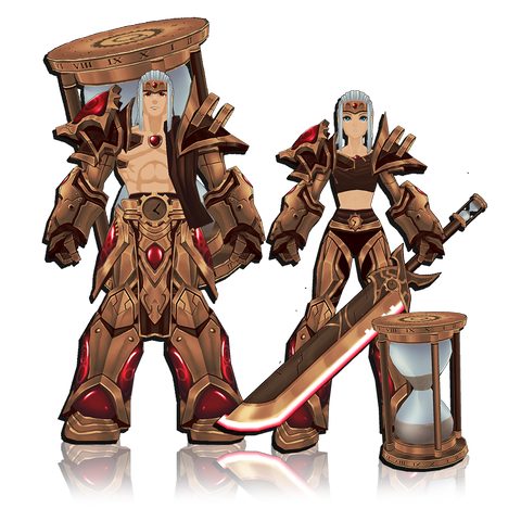 CORRUPTED CHRONOMANCER armor, title, and character page badge for AdventureQuest 3D