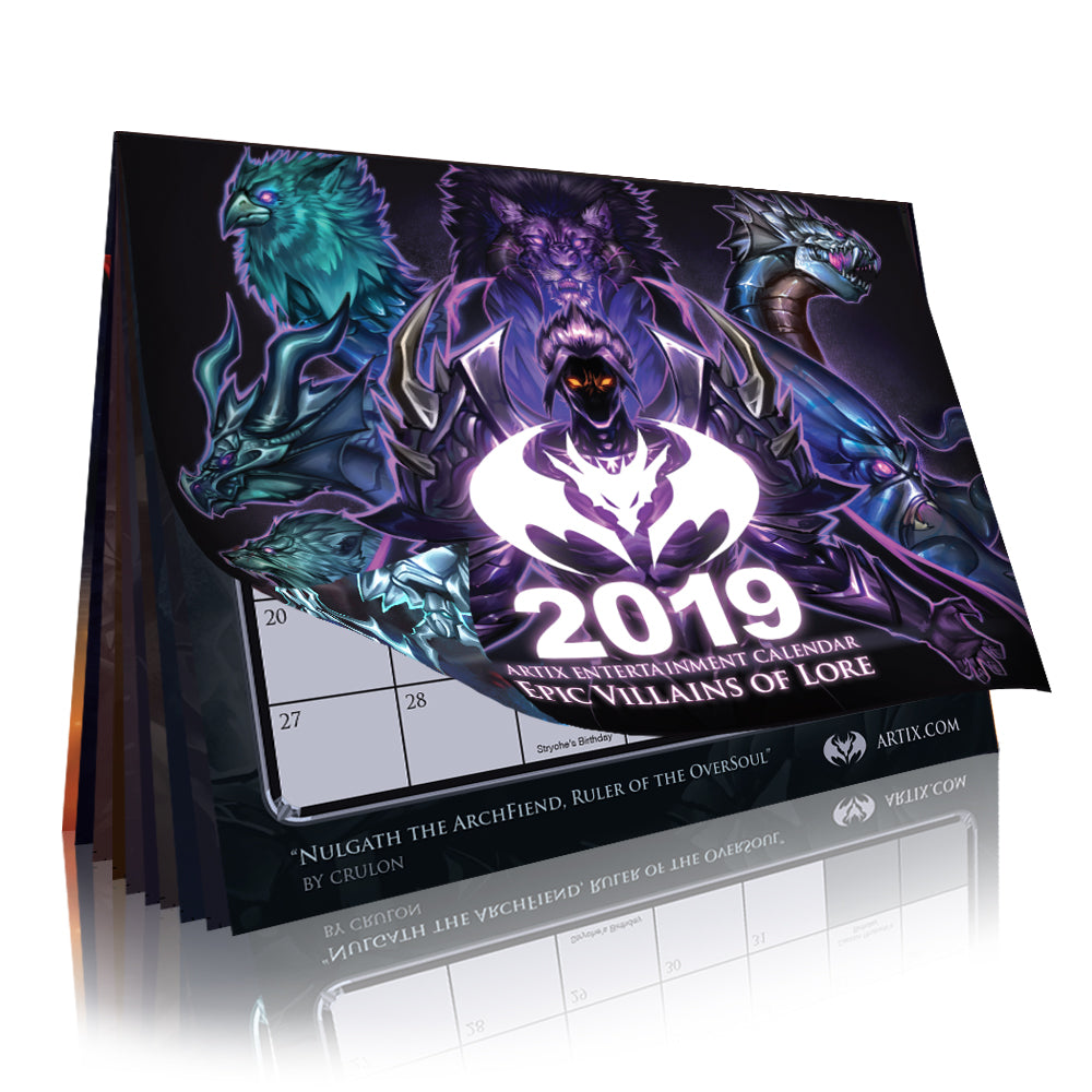 "2019 Calendar ""Epic Villains of Lore"""