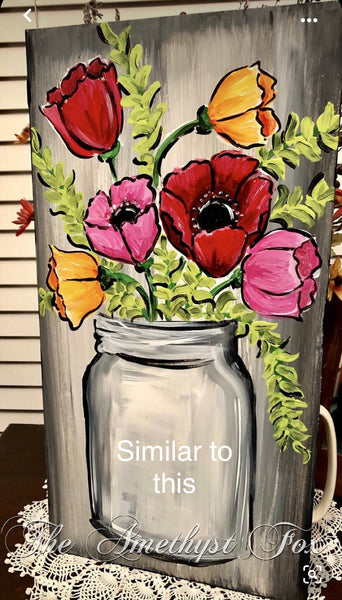 May Flowers Painting Class on wooden boards
