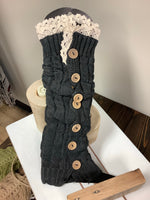 Boho leg warmers wood button