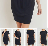 Solid French terry waist tie knit dress