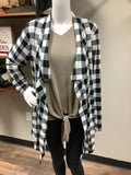 The ultimate buffalo plaid cardigan with patches, white