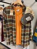 Sydneys plaid cardigan with suede elbow patches