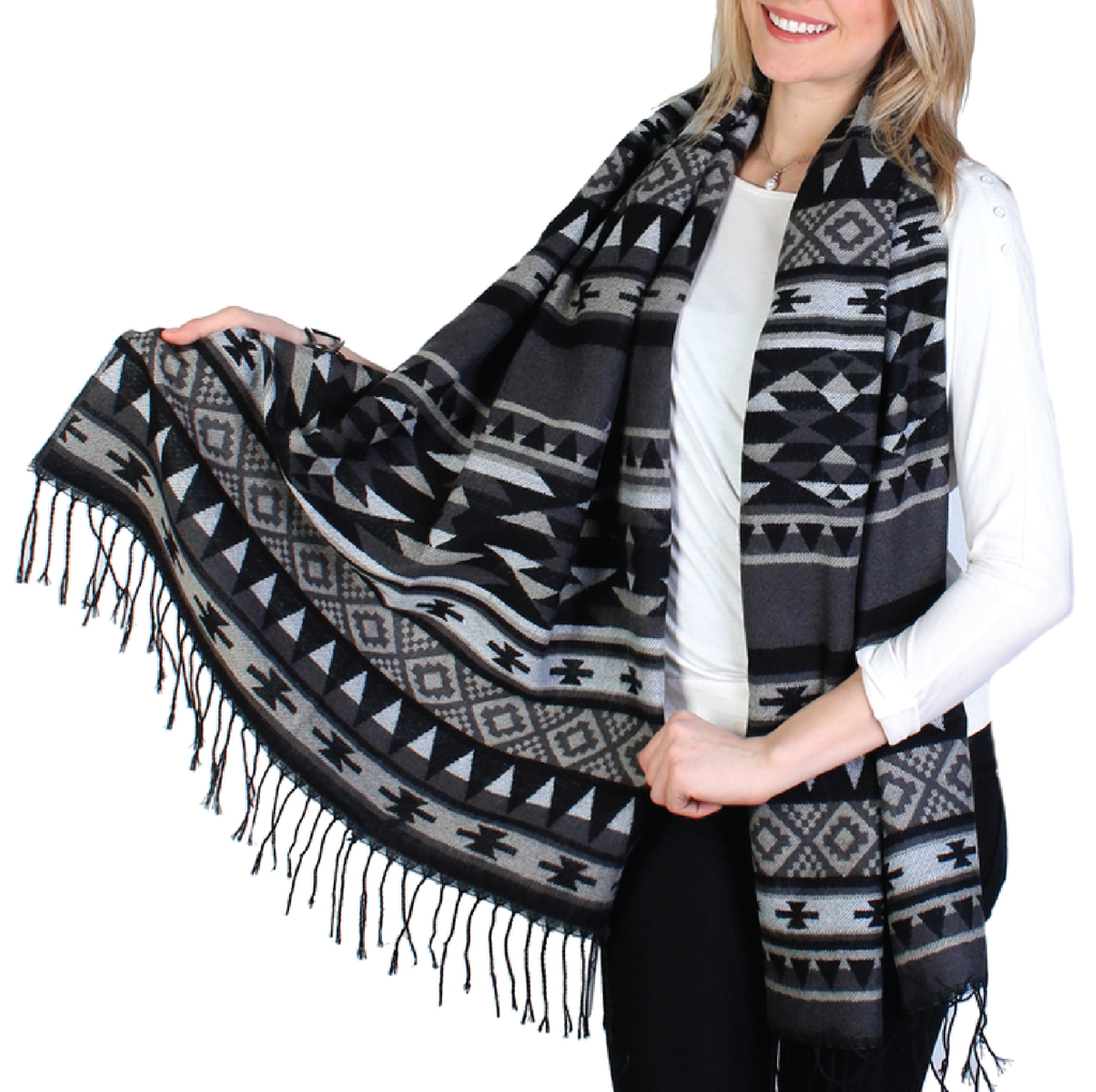 Tribal Print Scarf - Black/Grey