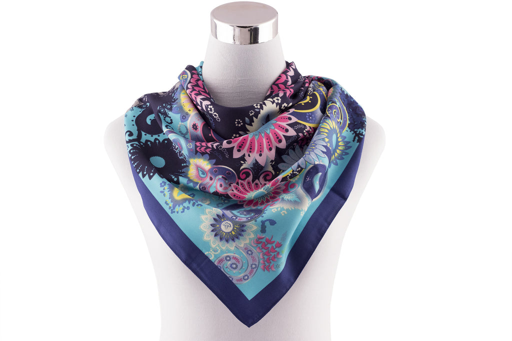 Women's Navy Blue Flower Square Scarf