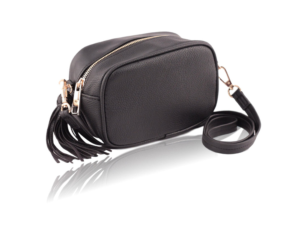 Mini Black Crossbody Bag with Tassel