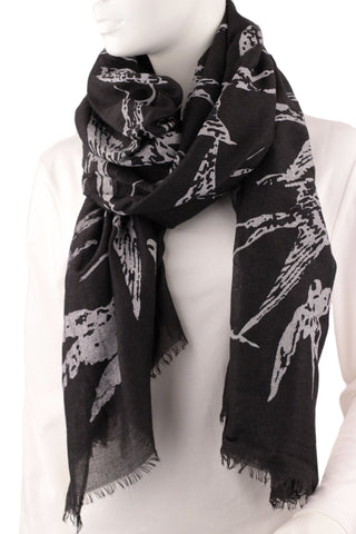 Vintage Bird Scarf - Black
