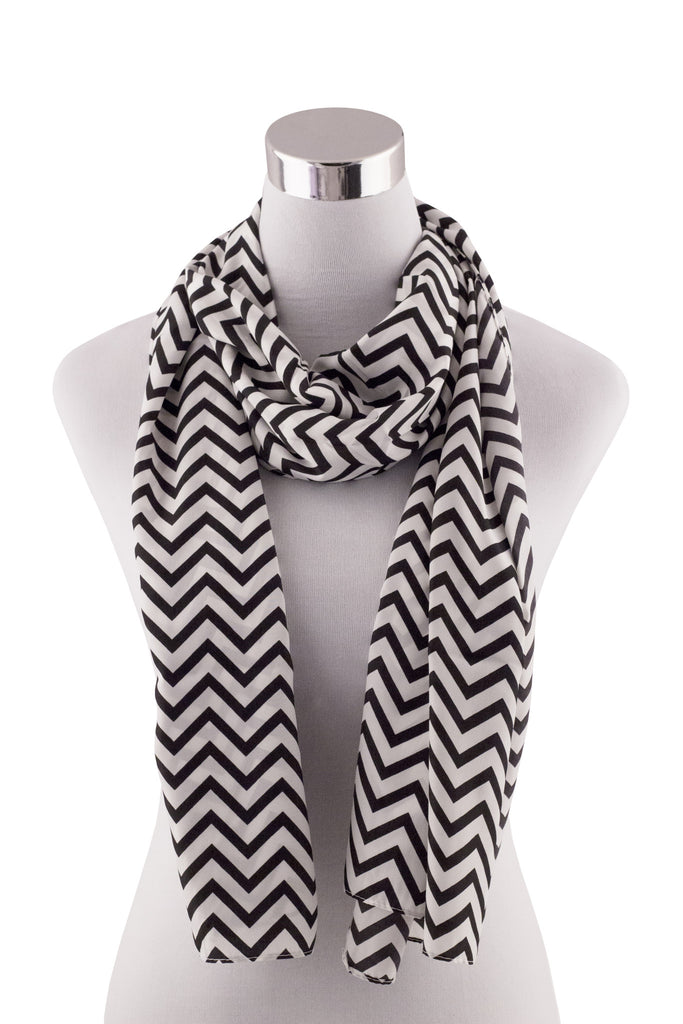Women's Chevron Black and White Scarf