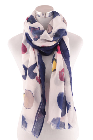 Cherie Bliss Women's Heart Printed Royal Blue Scarf