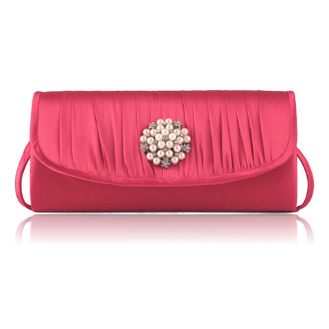 Jessica McClintock Pleated Pearl Clutch Bag - Pink