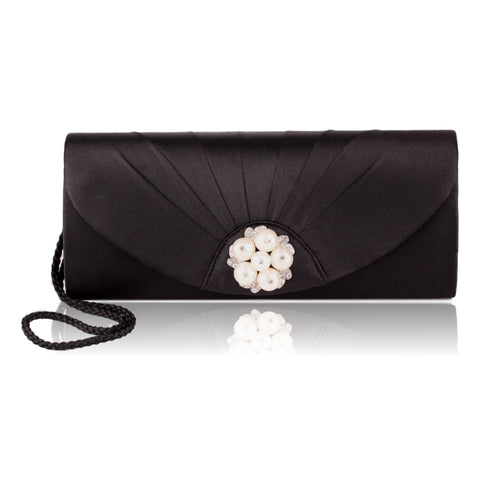 Jessica McClintock Women's Black Satin Evening Clutch ( with pearls )