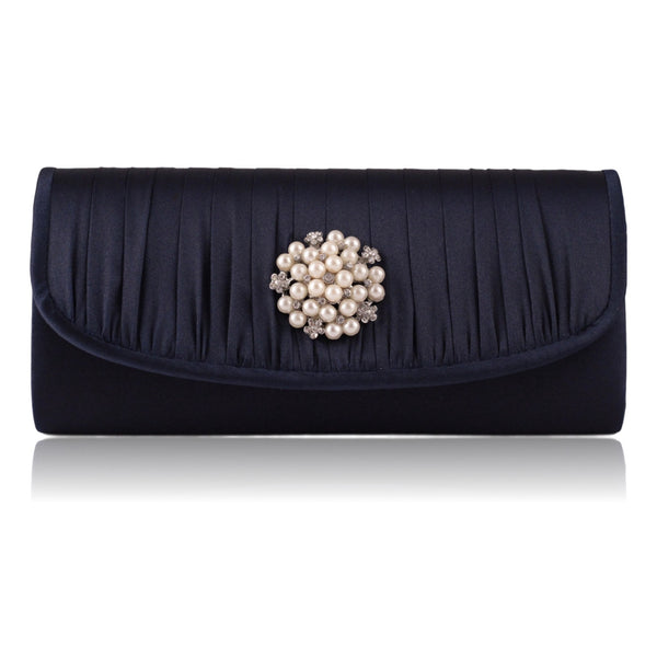 Jessica McClintock Pleated Pearl Clutch Bag - Navy Blue