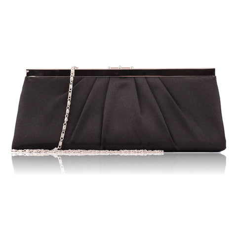 Jessica McClintock  Black Satin Evening Clutch