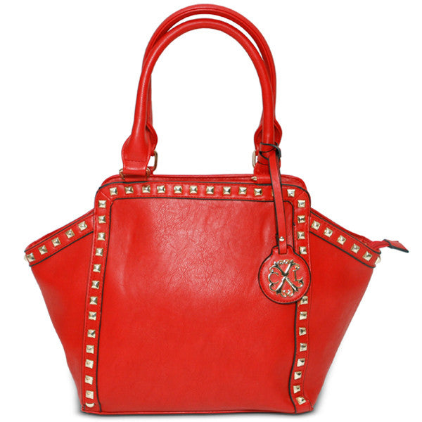 CXL by Christian Lacroix red satchel handbag, front view,  style XF14150