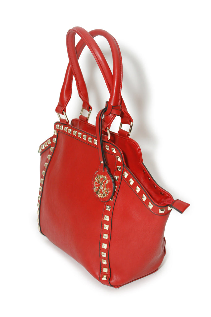 CXL by Christian Lacroix red satchel handbag, side view,  style XF14150
