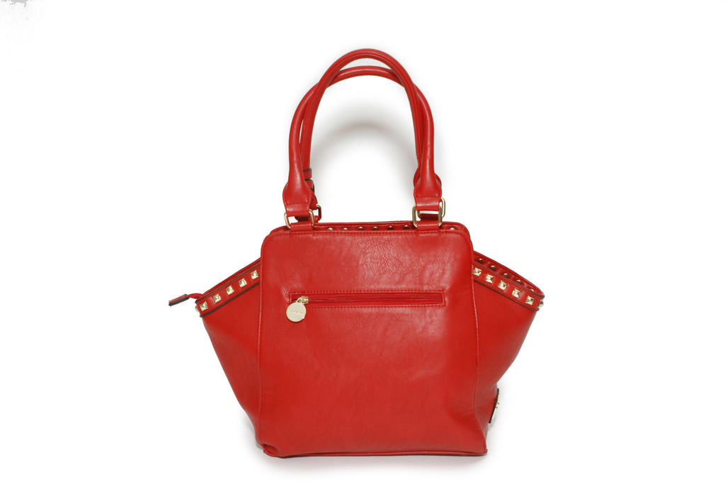 CXL by Christian Lacroix red satchel handbag, back view,  style XF14150