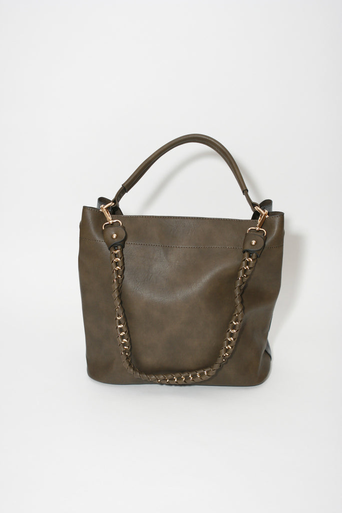 L. Credi Hobo Brown Handbag, back view