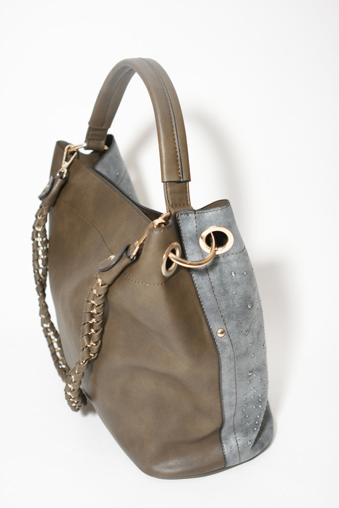 L. Credi Hobo Brown Handbag, back/side view