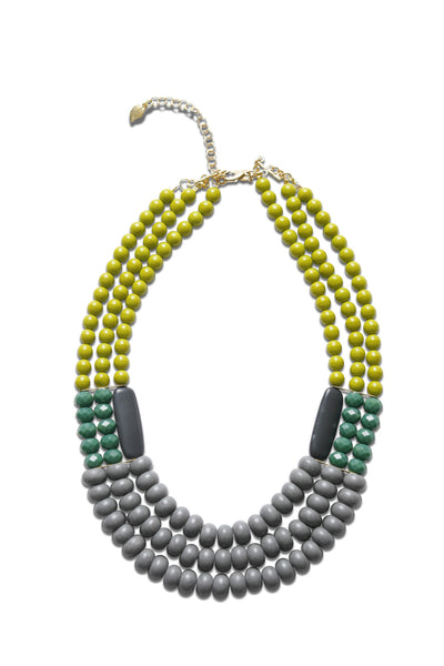 Statement necklace, David Aubrey three strand necklace, yellow, green and grey, front view