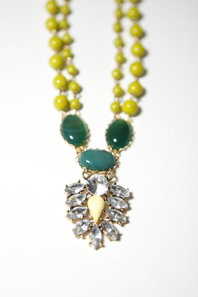 David Aubrey multi stone necklace, yellow, green, pendent view