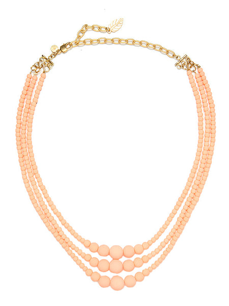 David Aubrey peach three stand necklace, front view