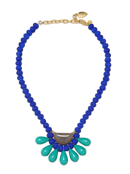 David Aubrey blue bib necklace, front view
