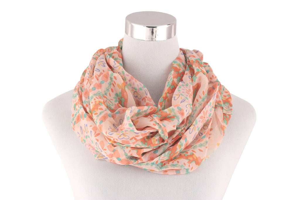 Peach Flora and Hearts Loop Infinity Scarf