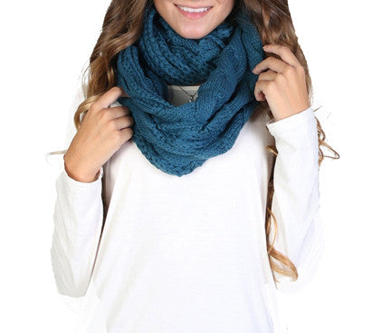Chunky Infinity Scarf - Blue