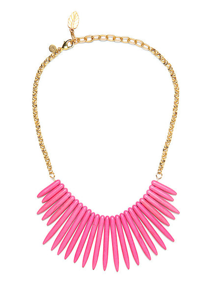 David Aubrey - (Sadie) Pink Spike Bib Necklace