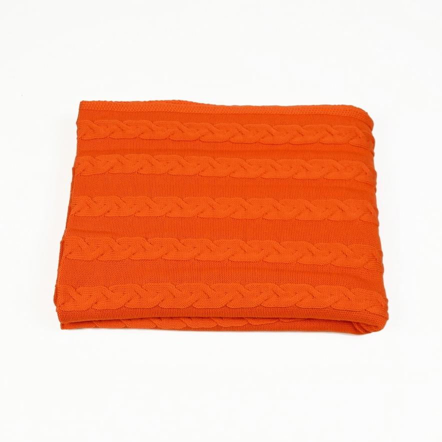 Decke 140x180cm Zopf, orange