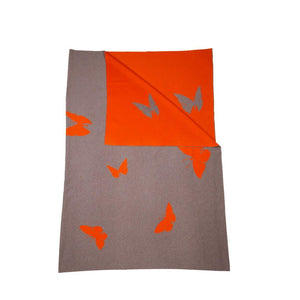 Decke 140x180cm Butterfly, beige/orange - Lenz & Leif