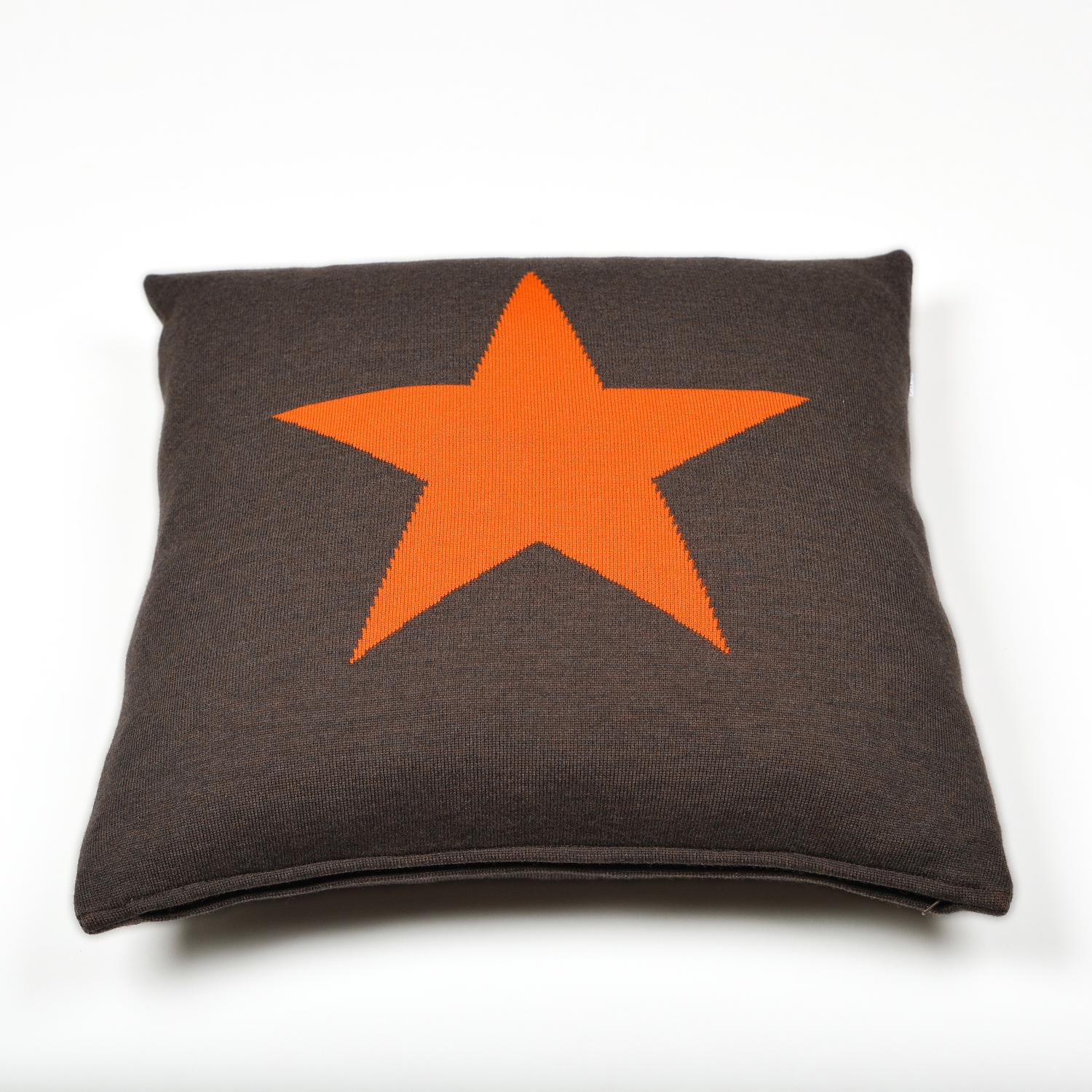 Kissenhülle 50x50cm Star, braun/orange