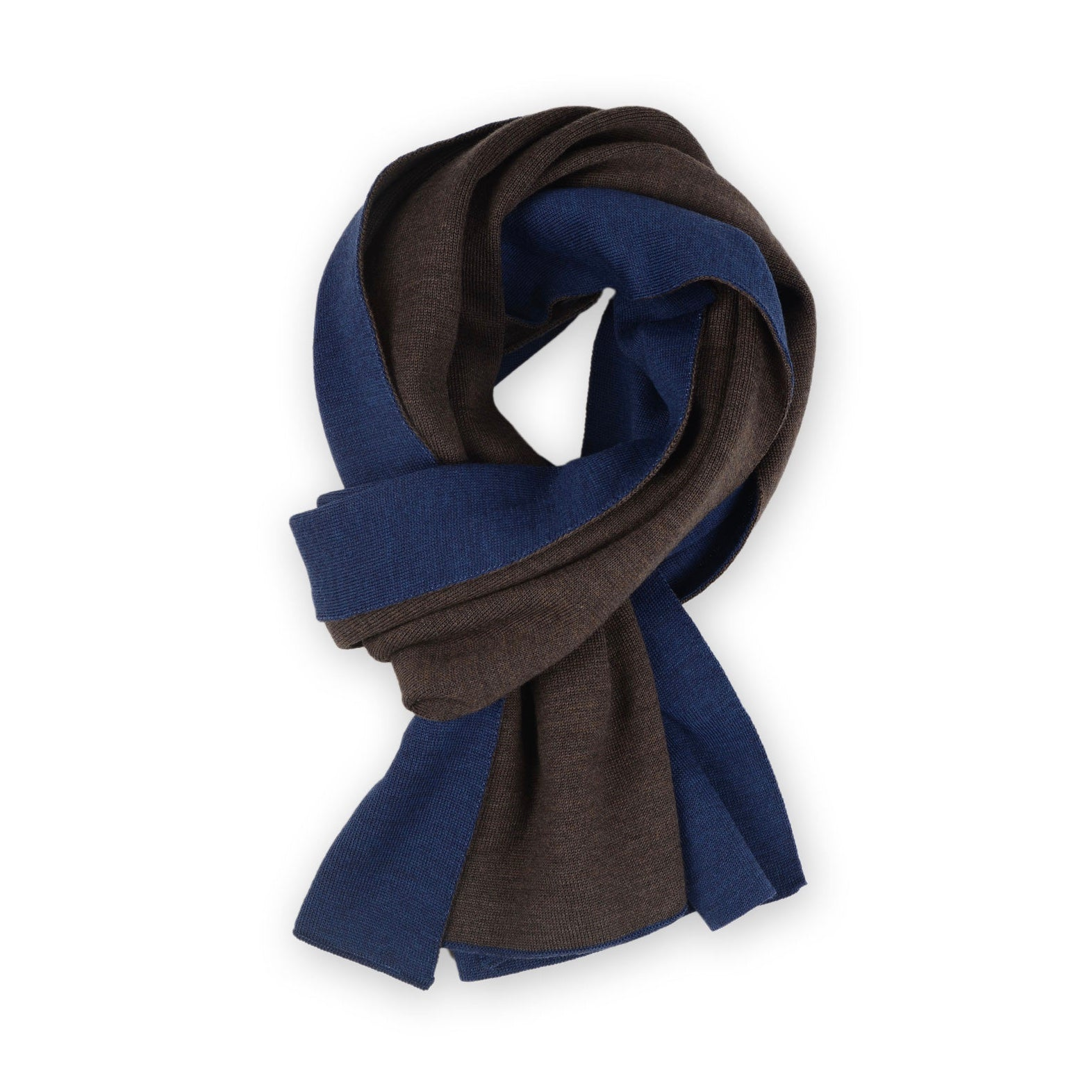 Scarf double face 50x180cm, blue / brown