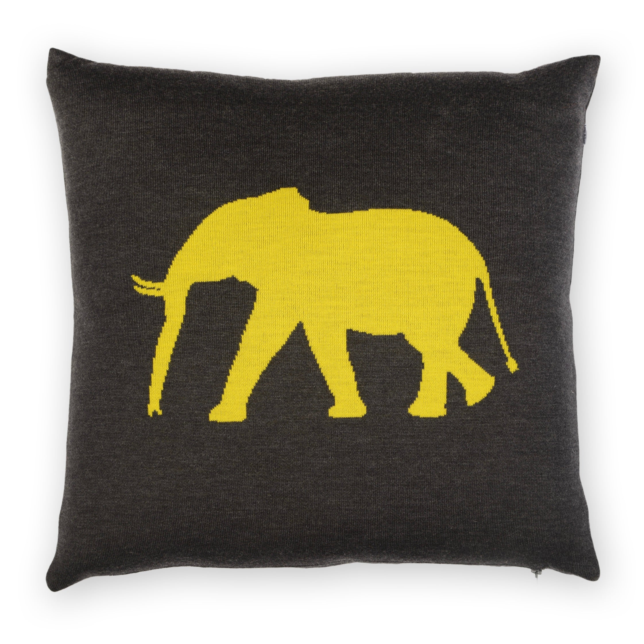 Cushion cover 50x50cm Elephant, dark gray / yellow