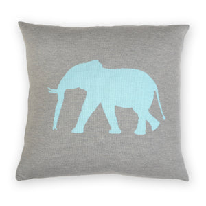 Cushion cover 50x50cm Elephant, gray / turquoise