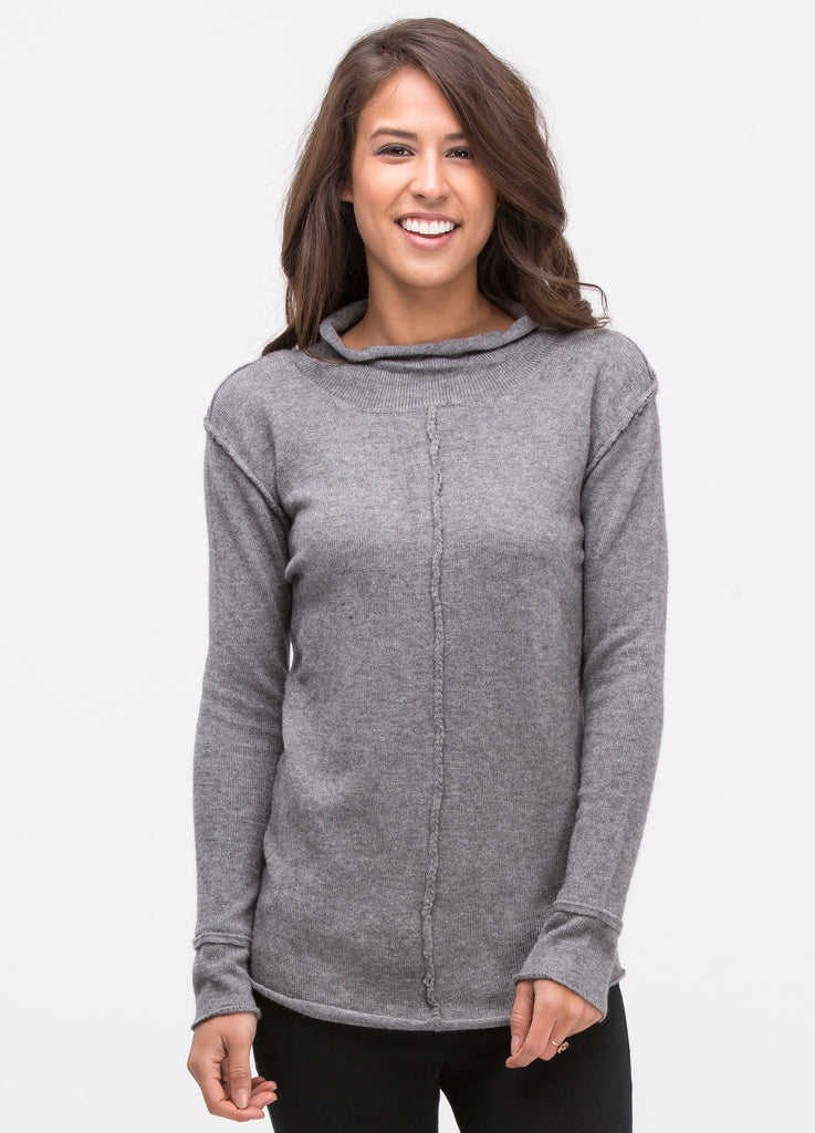 Deconstructed Grey High Neck Sweater