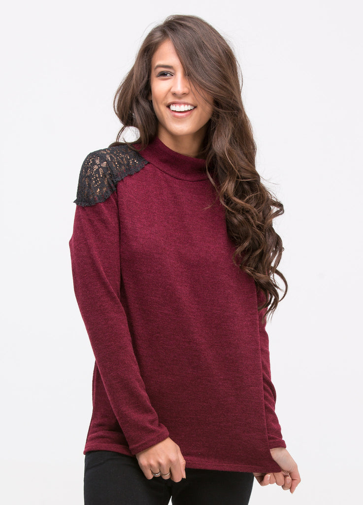 Mock Neck Top with Lace Trim in Burgundy