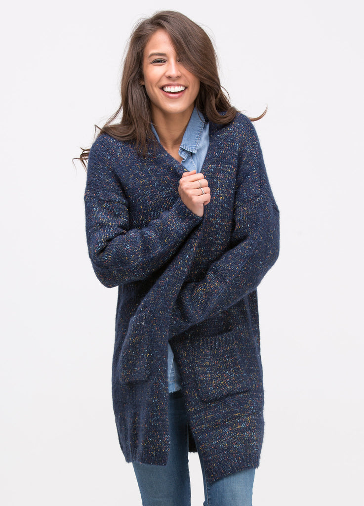 Speckled Cardigan in Navy