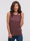 One-Sided Cutout Sleeveless Tee in Port