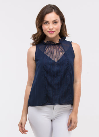Sleeveless Ruffle Lace Inset Top in Navy