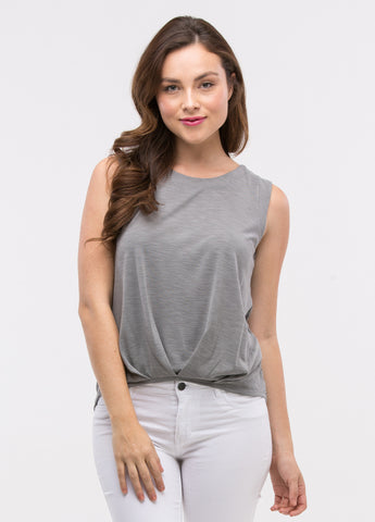 Pin-Tuck Pleated Sleeveless Top in Ash Grey