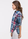 Acid Wash Plaid in Pink/Denim