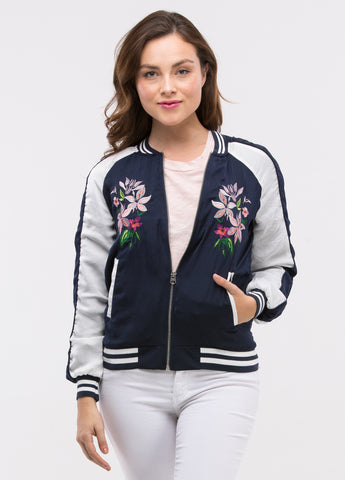 Embroidered Bomber Jacket in Navy