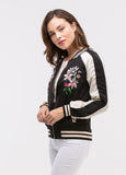 Embroidered Bomber Jacket in Black